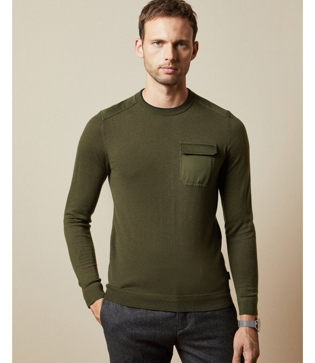TED BAKER SAYSAY CREW NECK WITH PATCH POCKET