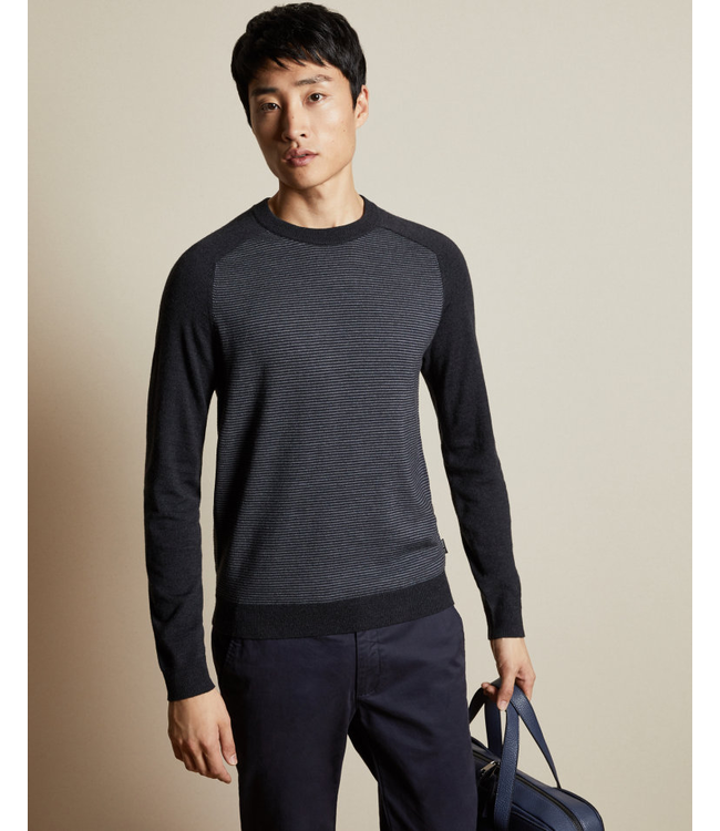 TED BAKER TOPUP STRIPED CREW NECK SWEATER