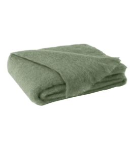 LANDS DOWNUNDER OLIVE BRUSHED MOHAIR THROW