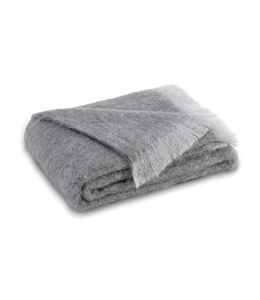 LANDS DOWNUNDER PEWTER BRUSHED MOHAIR THROW