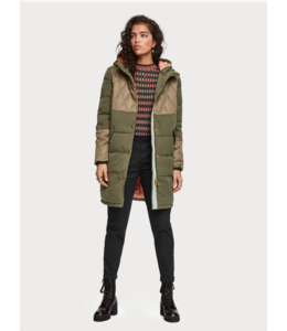 SCOTCH & SODA MIXED FABRIC PARKA JACKET WITH QUILTING DETAILS