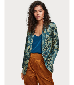 SCOTCH & SODA LONGER LENGTH BLAZER IN BIRD LACQUARD PATTERN