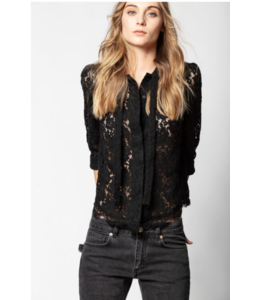 ZADIG & VOLTAIRE TOUCH LACE TIE TOP