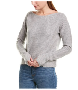 NAADAM 100% CASHMERE BOAT NECK RIBBED PULLOVER