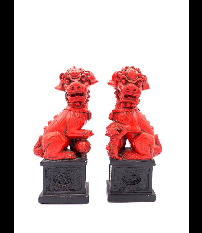 ELLAS PAIR OF 2 VINTAGE RED FOO DOGS