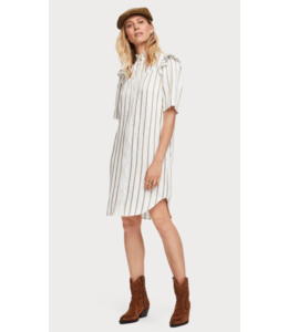 SCOTCH & SODA METALLIC STRIPED DRESS WITH LADDER TAPES