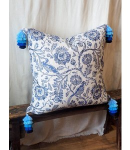 DESIGN LEGACY BLUE AND WHITE EMBROIDERED PILLOW 26X26