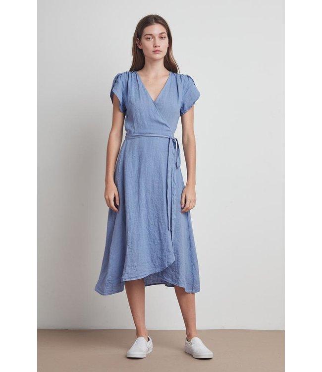 VELVET WOVEN LINEN POSIE DRESS