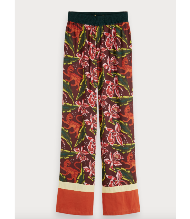 SCOTCH & SODA PRINTED PANTS WITH COLOUR BLOCK PANELS