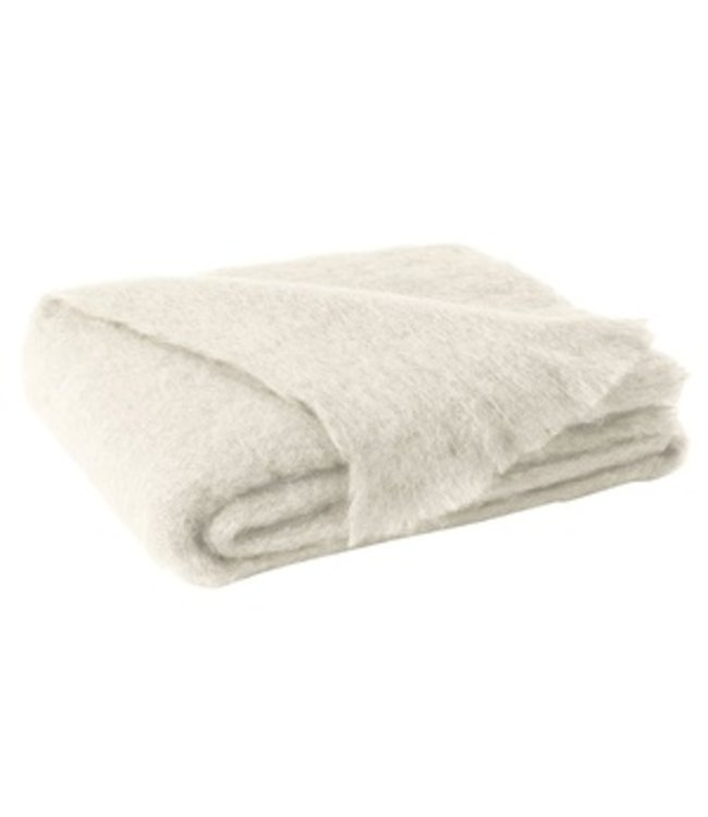 LANDS DOWNUNDER CREAM BRUSHED MOHAIR THROW 51X72