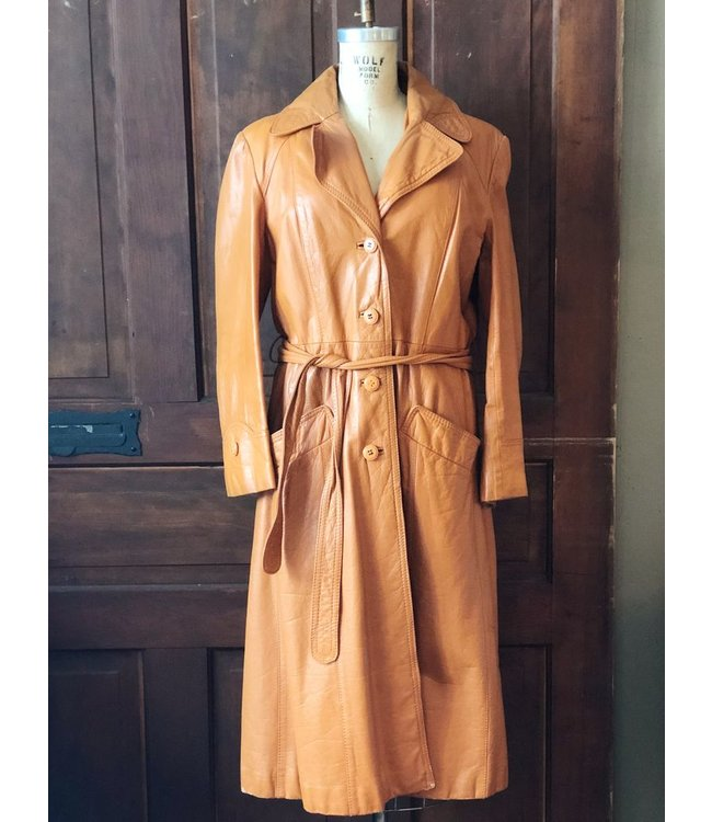 ELLAS VINTAGE LEATHER TRENCH COAT
