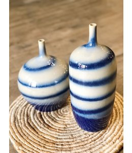 LEGEND OF ASIA BLUE AND WHITE HORIZONTAL STRIPED VASE