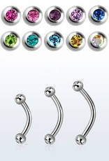 16g Barbell with clear jewel - 10mm