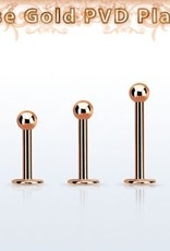 Rose gold PVD plated surgical steel labret, 16g with a 3mm ball