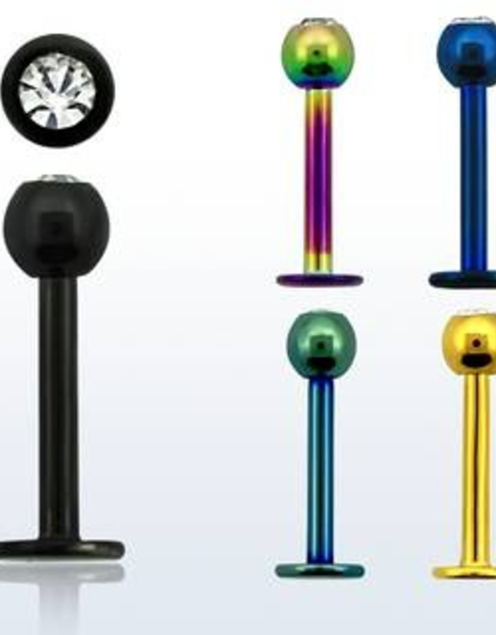 Anodized labret w/clear crystal, 16g, 3mm ball- Gold