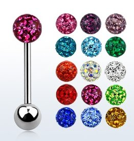 Surgical steel tongue barbell, 14g with 6mm ferido glued multi crystal ball - length 19mm- Rose