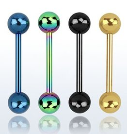 Anodized surgical steel tongue barbell, 14g with 6mm balls - Black