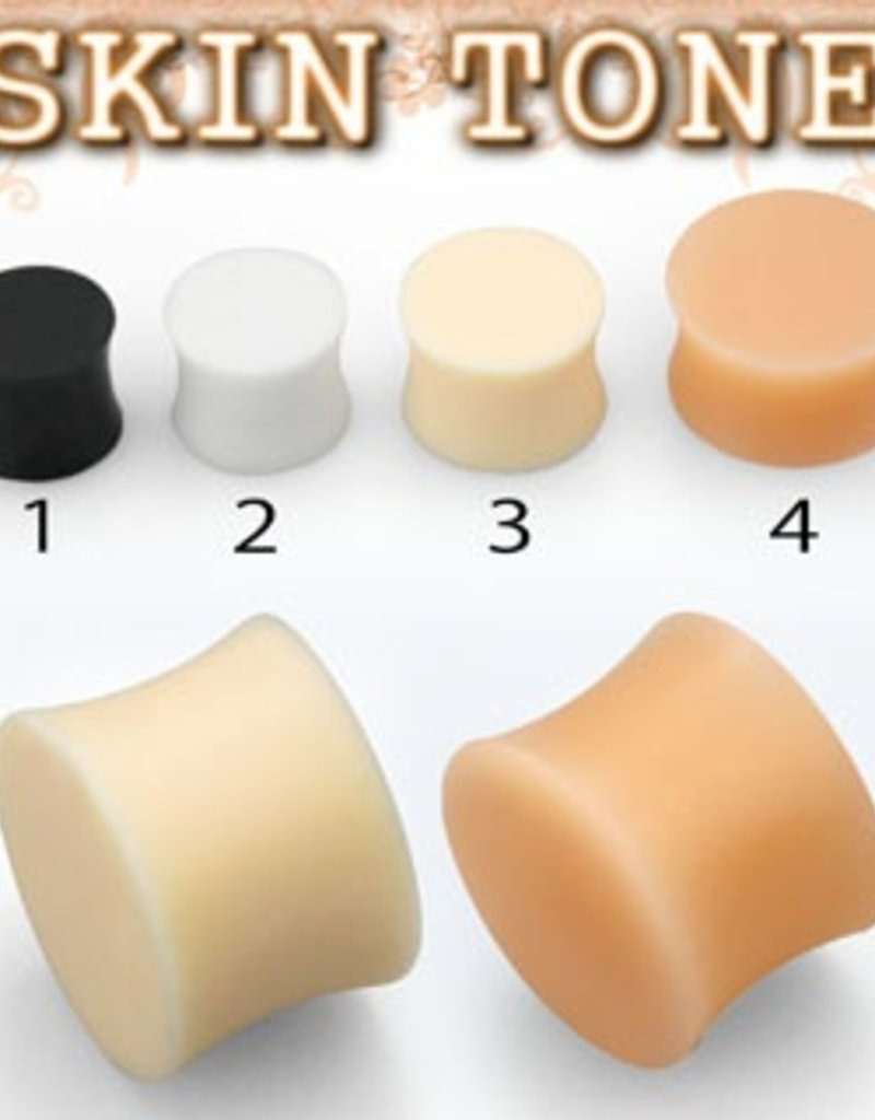 2pc. Flesh-toned silicone plug retainer #3 - 0g