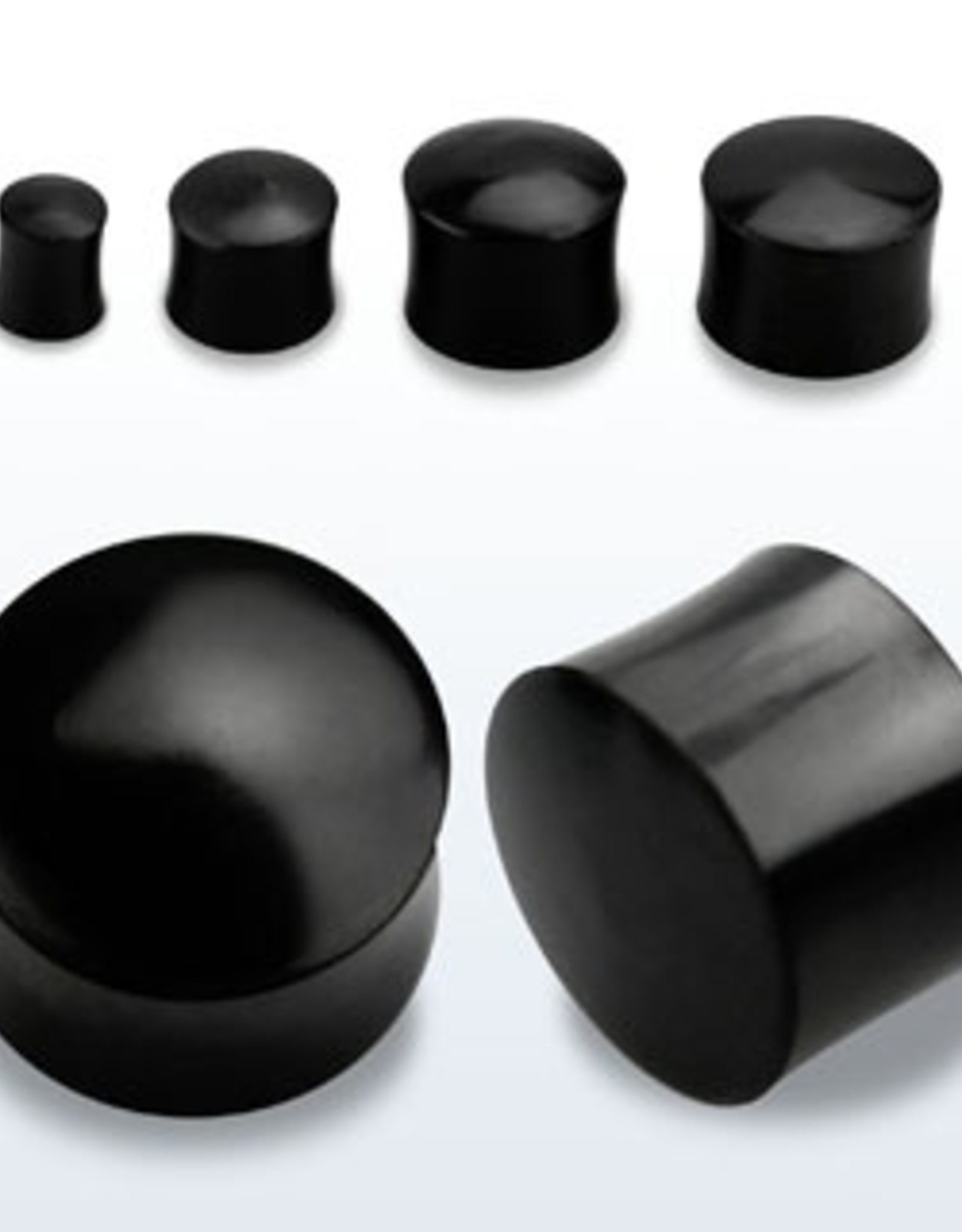 2pc. Black horn double flared solid plug-4g