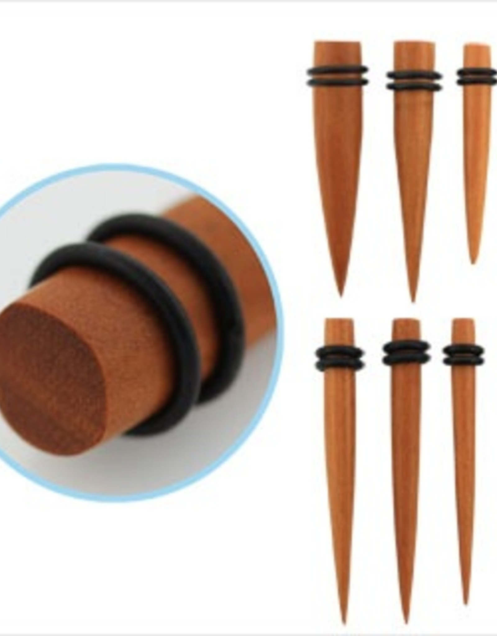 """2pc. Sawo wood taper with double rubber O-rings-5/8"""""""