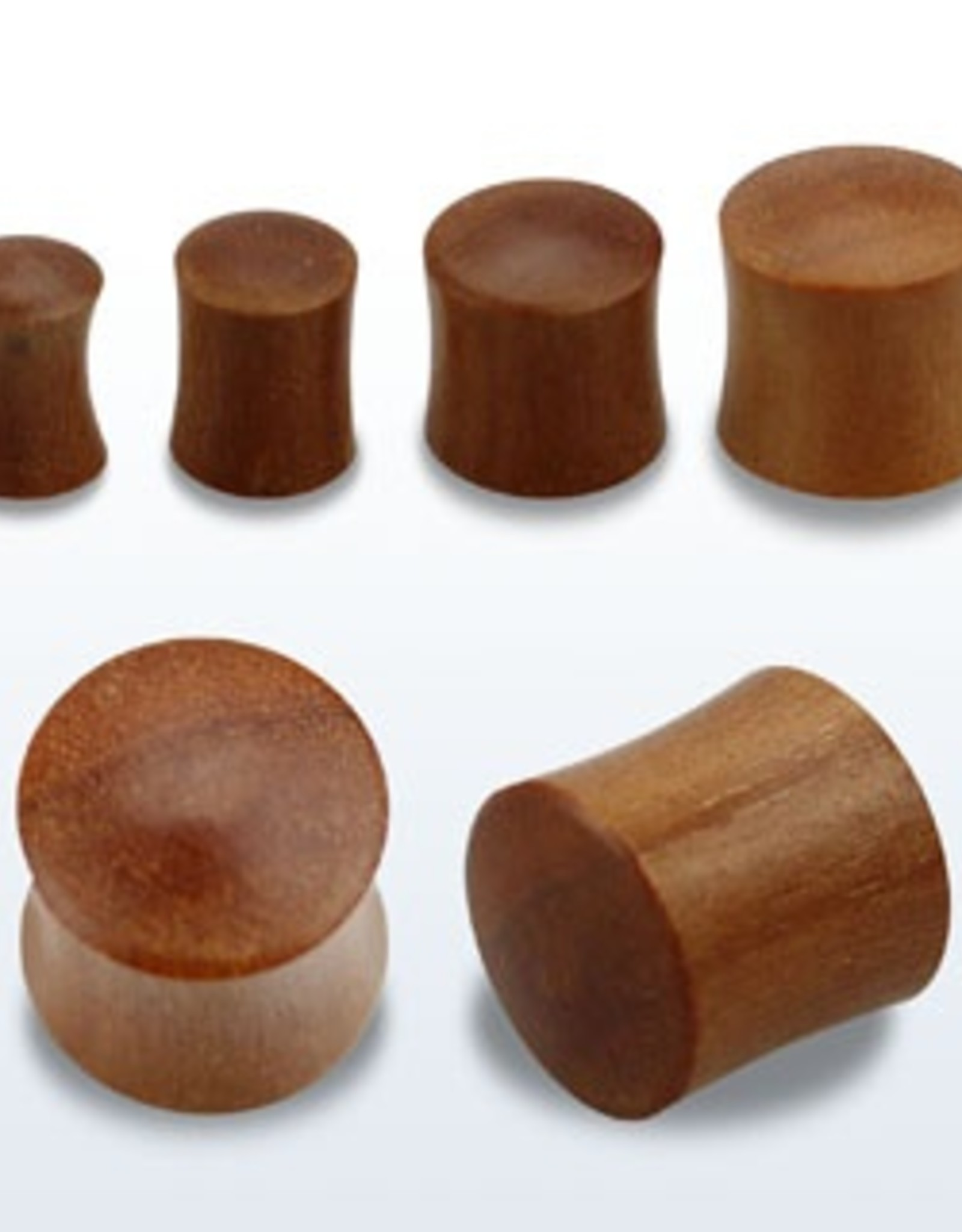 2pc. Teak wood double flared solid plug-0g