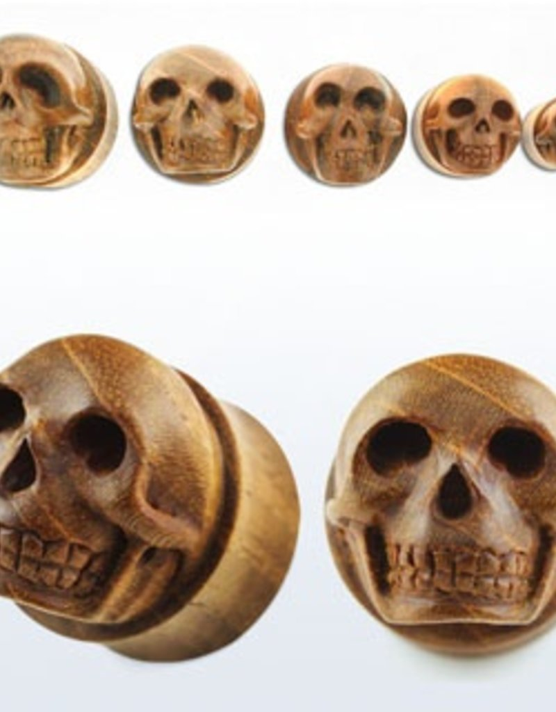 2pc. Teak wood double flared plug with hand carved skull-7/8""