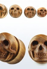 2pc. Teak wood double flared plug with hand carved skull-1""