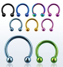 Premium PVD plated surgical steel circular barbell, 16g  with 3mm balls