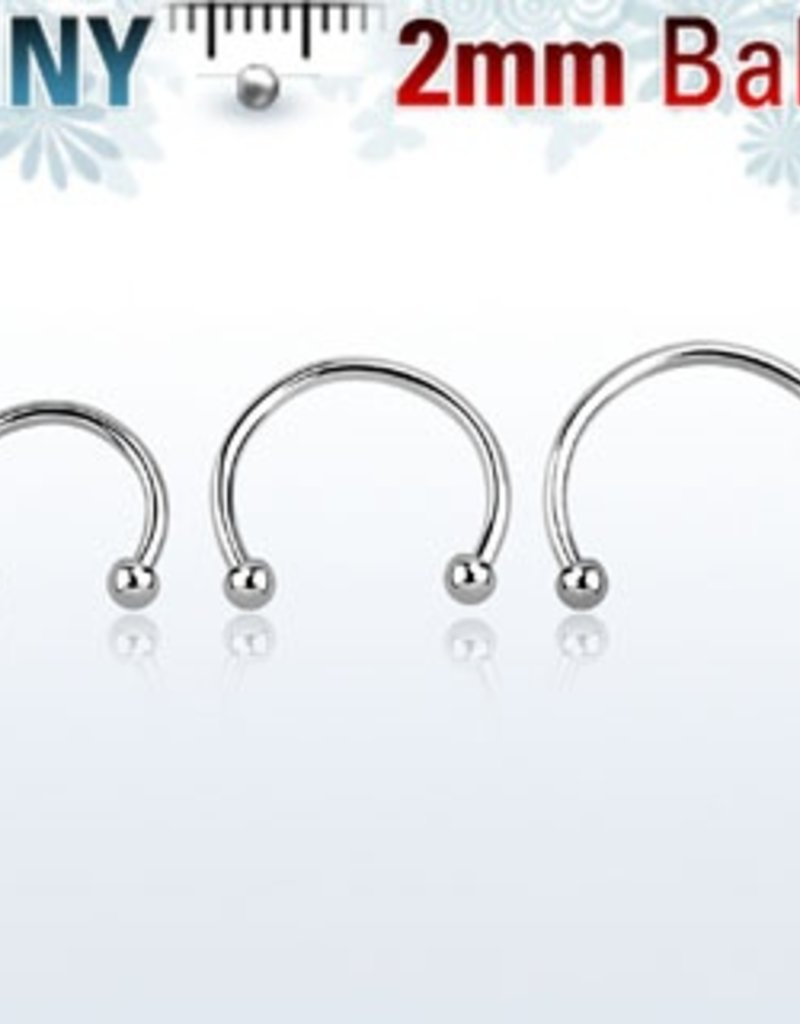 Circular barbell 18g (eyebrow), 2mm ball-8mm