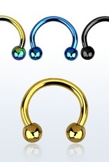 Anodized surgical steel eyebrow banana, 14g with two 4mm balls
