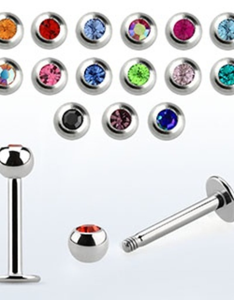 Crystal labret 16g, 3mm ball, 1/4'' - Clear