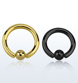 Color PVD plated steel ball closure ring - 10g,  6mm ball-14mm-Black