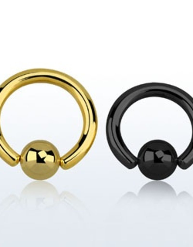 Color PVD plated steel ball closure ring, 8g with 8mm ball - 14mm, Black