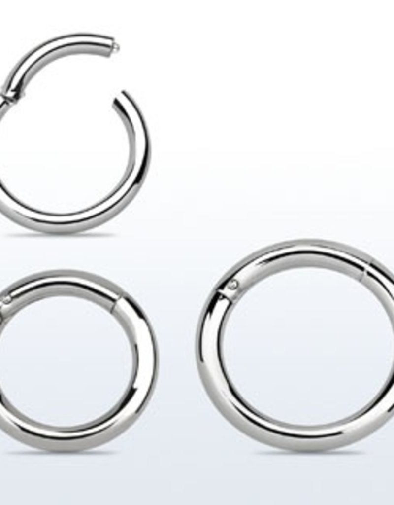 High polished surgical steel hinged segment ring, 14g -10MM