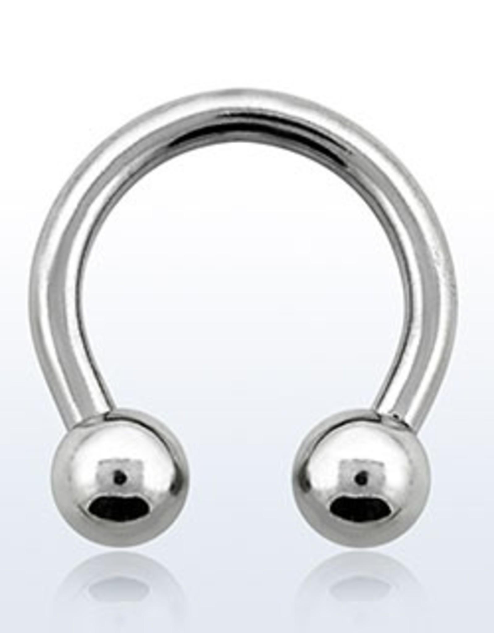 Circular barbell, 12g, 5mm balls, 1/2''; external threading