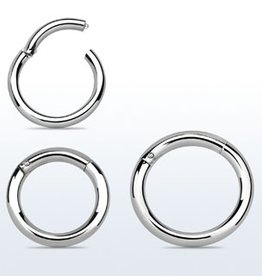 High polished surgical steel hinged segment ring, 14g -12MM
