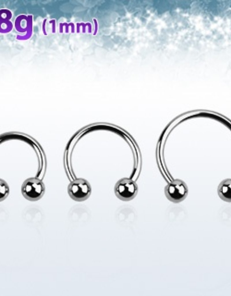 Surgical steel circular barbell, 18g with two 3mm balls - length 10mm