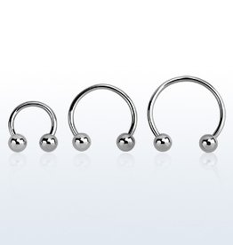 Surgical steel circular barbell, 16g  with two 4mm balls-8mm