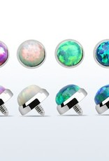 5mm Titanium G23 dermal anchor top part with synthetic opal for internally threaded, 16g- Green