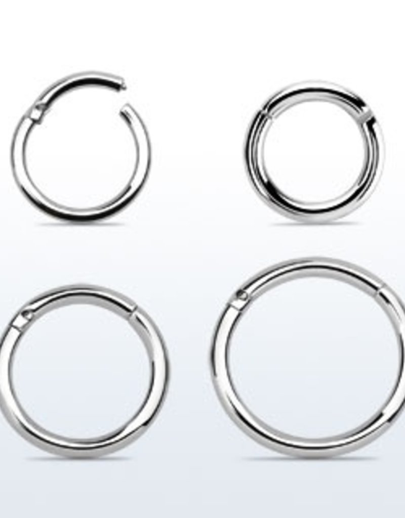 High polished surgical steel hinged segment ring, 16g -6MM