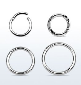 High polished surgical steel hinged segment ring, 16g -8MM