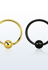 Anodized ball closure ring - 20g (eyebrow), 3mm ball-8MM-Black
