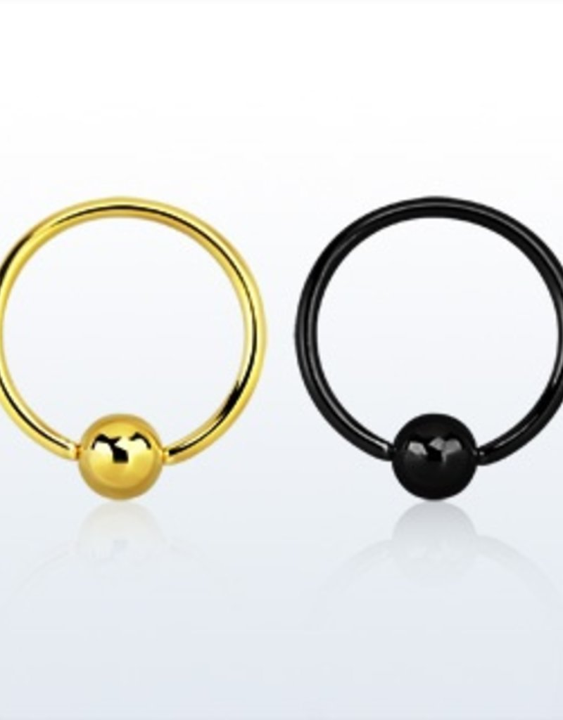 Anodized ball closure ring - 20g (eyebrow), 3mm ball-10MM-Black
