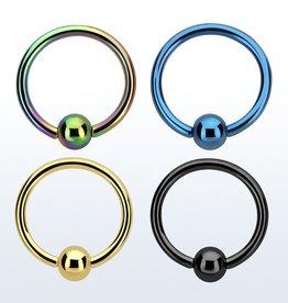 Anodized ball closure ring - 18g (eyebrow), 3mm ball,10mm-Black