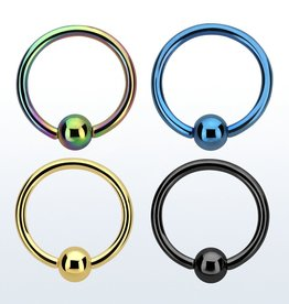 Anodized ball closure ring - 18g (eyebrow), 3mm ball,8mm-Black