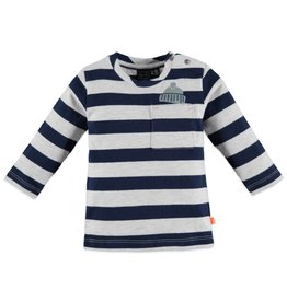 Navy & Grey Stripe LS Boy Tee