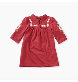 Embroidered Henley Baby Dress, Pomegranate