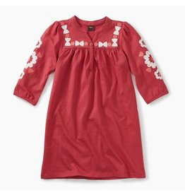 Embroidered Henley Dress, Pomegranate