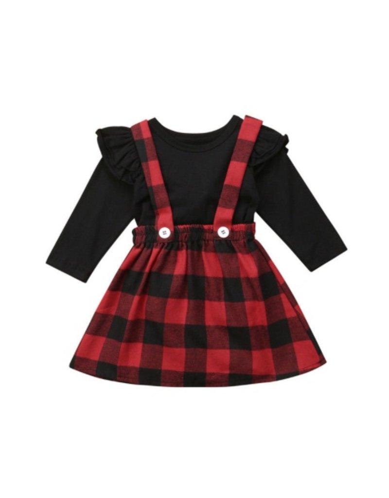 Red Plaid Suspender Skirt & Top