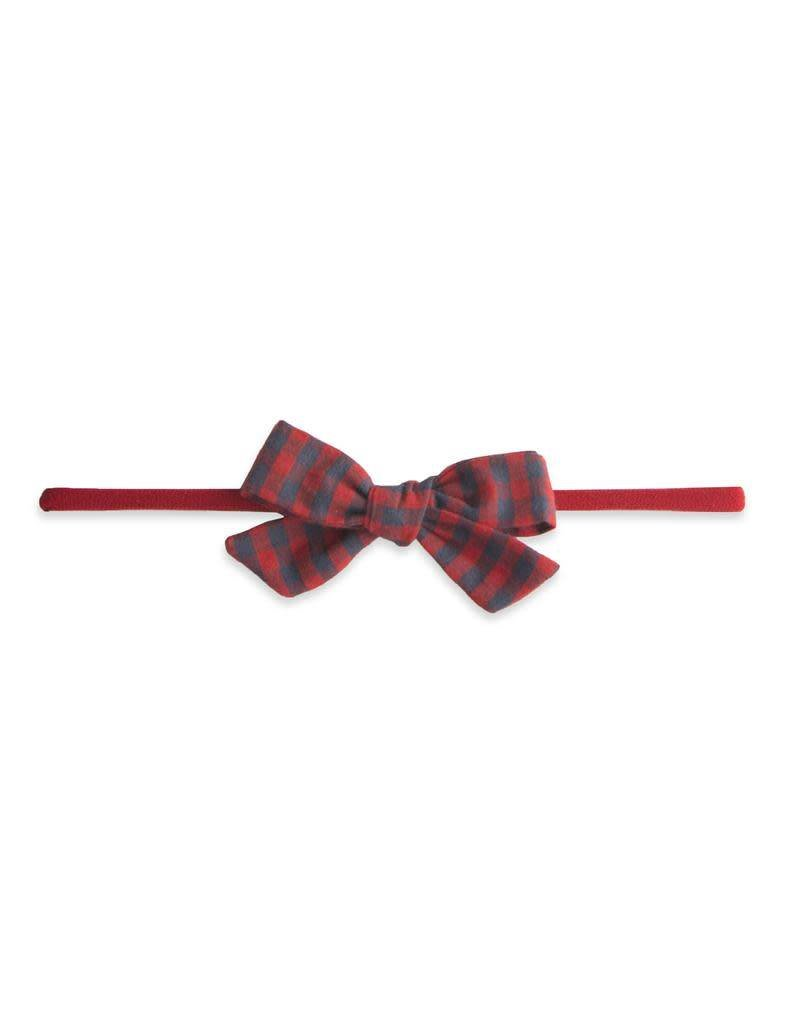 Cotton Print Bow, Red/Charcoal Check
